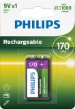 12x Philips Rechargeable NimH 9V/HR22 170mah