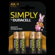 80x Duracell Simply Alkaline AA/LR6 (blister 4 )