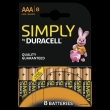 80x Duracell Simply Alkaline AAA/LR03 (blister 8)