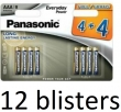 12x8 Panasonic Alkaline Everyday Power AAA
